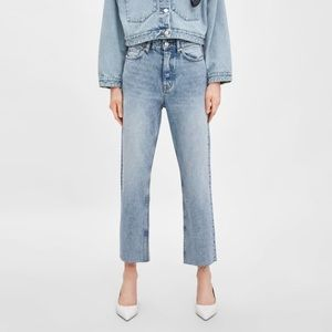 NEW  ZARA Hi-rise cropped straight jeans